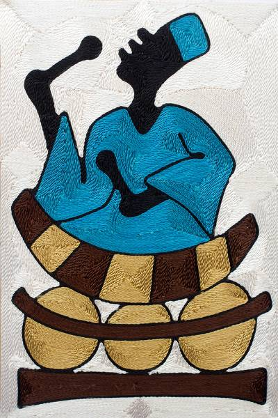 Threadwork art, 'Xylophone Player Sings' - African Folk Art Threadwork Wall Art Handmade in Ghana