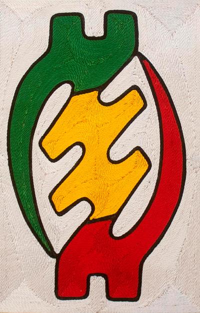 Threadwork art, 'Gye Nyame' - Gye Nyame Adinkra Symbol African Threadwork Art