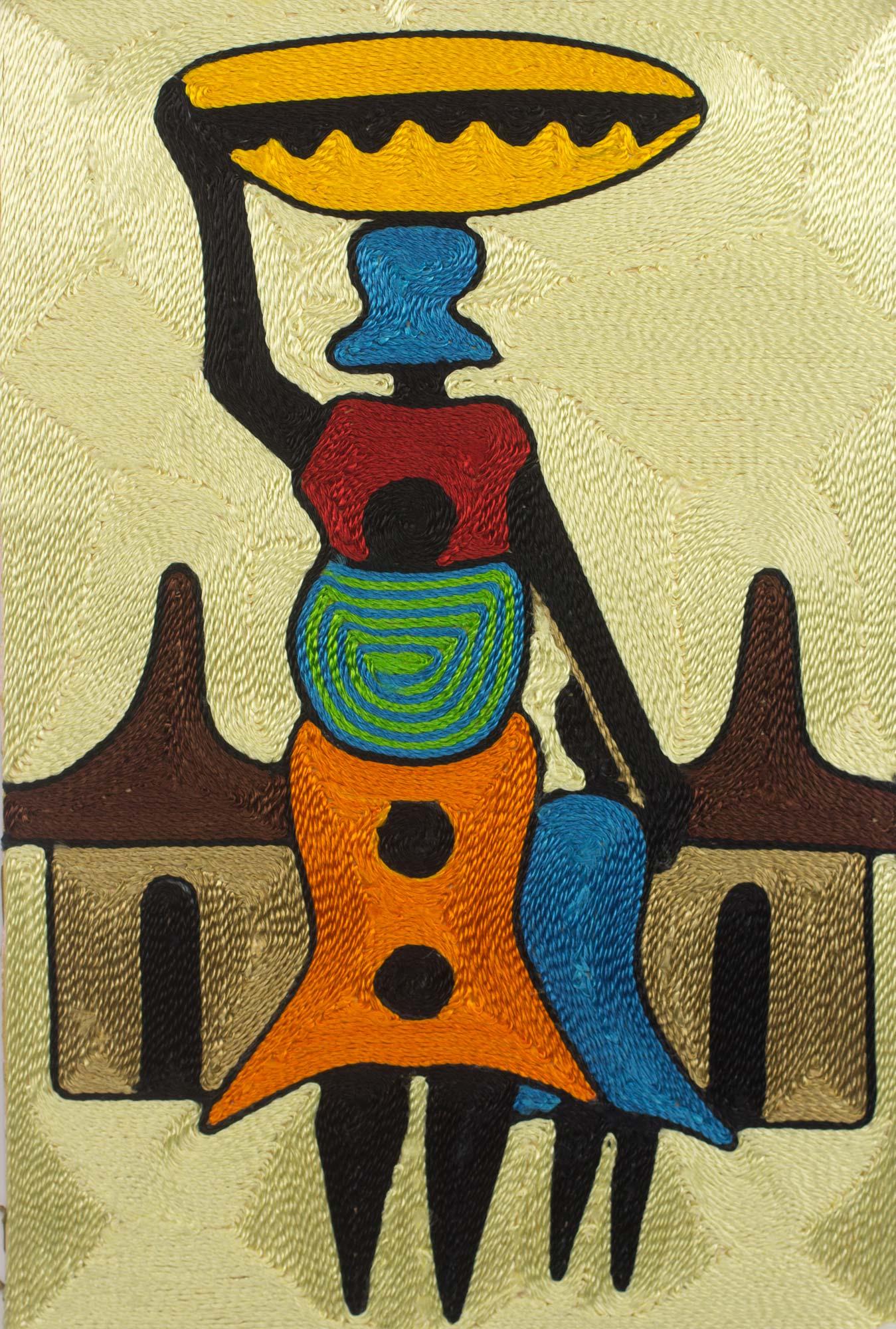 Handcrafted African Threadwork Wall Art of Village Scene - Village ...