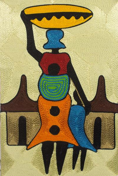 Threadwork art, 'Village Scene' - Handcrafted African Threadwork Wall Art of Village Scene