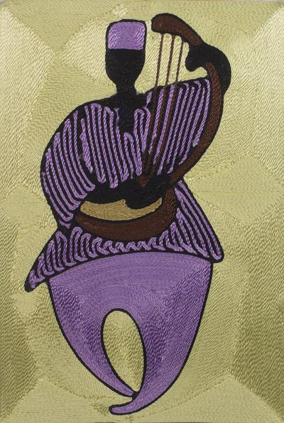 Threadwork art, 'Guitar Player' - Handcrafted African Threadwork Art with Music Theme