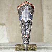 African wood mask, 'Fan' - Blue and Red African Wood Mask with Embossed Metal