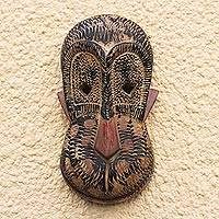 African wood mask, 'Monkey Joe' - Artisan Crafted African Decorative Wood Monkey Mask