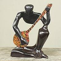 Wood sculpture, 'Guitar Player II' - Modern Wood Sculpture of Man Playing Guitar