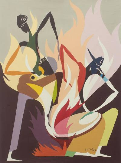 'By the Fireside' - Cubist Style Acrylic Painting of Fireside Scene in Ghana