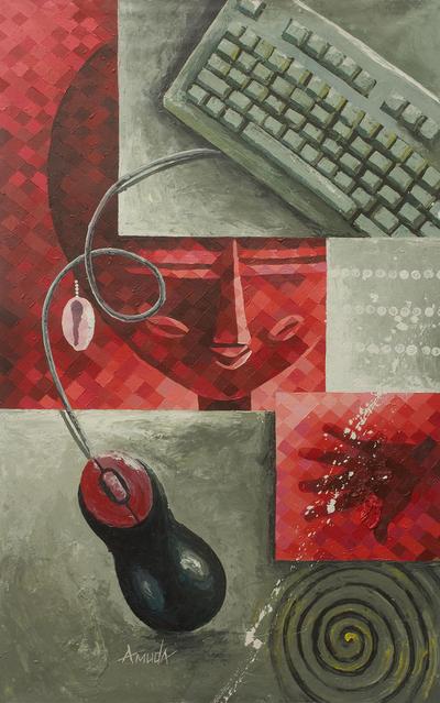'New Era' - Original Cubist Painting of Modern Era Versus Tradition