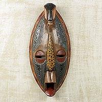 African wood mask, 'God Has Heard Me' - Artisan Crafted Authentic African Mask with Repousse