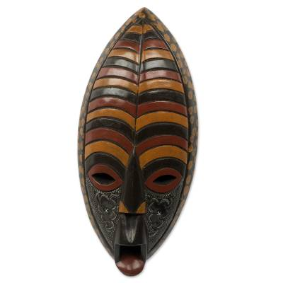 African wood mask, 'Deliver Me' - Mouth Agape African Mask Handcrafted in Ghana