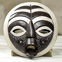 African wood mask, 'Rescued' - Circular West African Mask Handcrafted and Painted