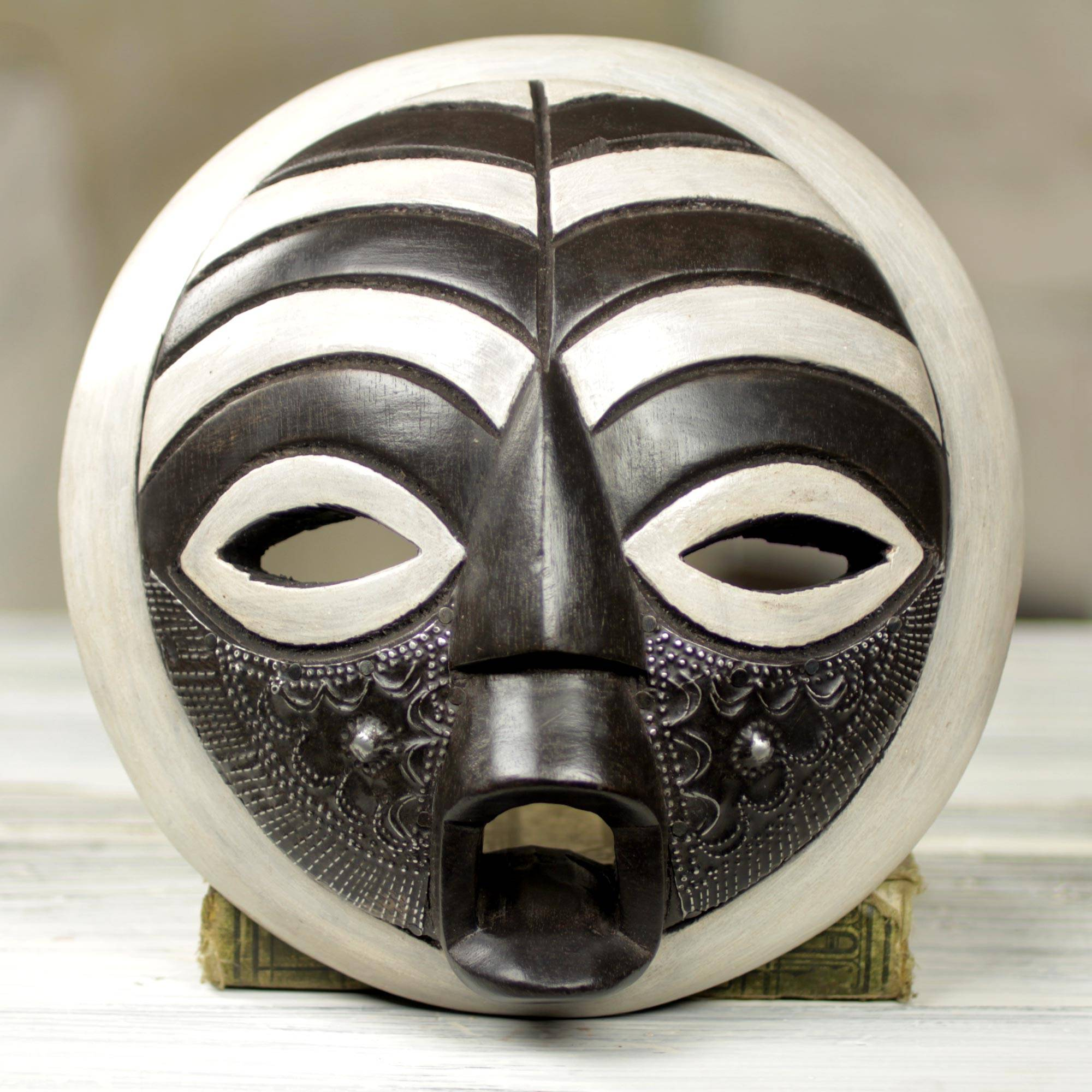 Circular West African Mask Handcrafted And Painted Rescued Novica