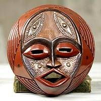 African wood mask, 'Praise God'