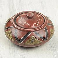 Wood decorative bowl, 'Akua I' - Artisan Crafted Ghanaian Decorative Wood and Brass Bowl