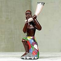 Wood sculpture, 'Okayi and his Trumpet' - Hand Carved African Wood Sculpture from Ghana