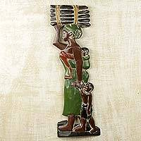 Wood wall sculpture, 'Sackie Maame' - Mother and Child African Wood Sculpture Panel for Wall