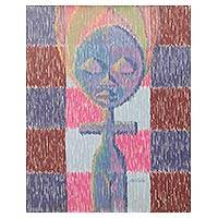 'Akuaba Doll' - Colorful Acrylic Painting of African Akuaba Fertility Doll