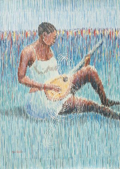 'Music Lover' - Signed Acrylic Painting of African Woman Playing Guitar