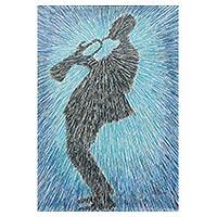 'Joyful Tunes' - Music Themed Acrylic Painting of Man Playing a Trumpet