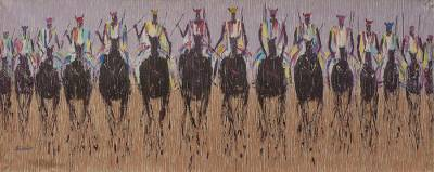 Painting of Warriors on Horseback in Acrylic on Canvas