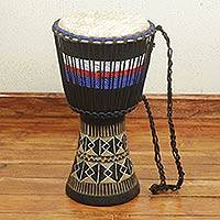 African wood djembe, 'Inspiration' - African Djembe Drum with Red White and Blue Accent