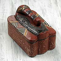 Wood jewelry box, 'Elephant Guardian' - Artisan Carved Jewelry Box with an Elephant Lid from Ghana