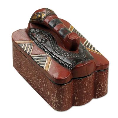 Wood jewelry box, 'Elephant Guardian' - Artisan Carved Jewelry Box with an Elephant Lid from Ghana