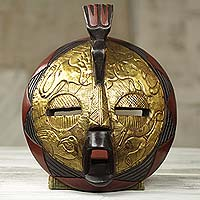 African wood mask, 'Animal Safari' - Circular African Mask Covered in Brass with Animal Motifs