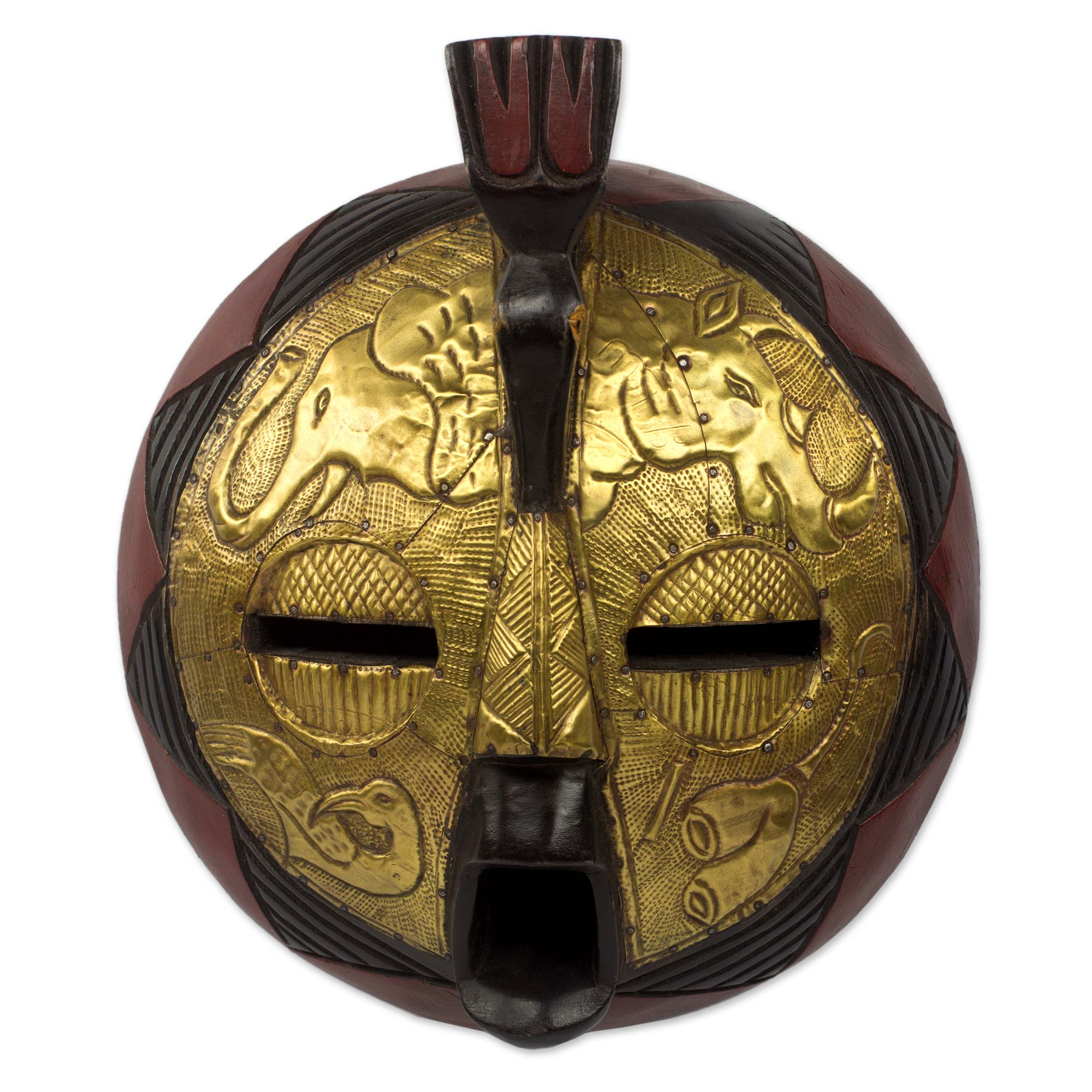 Circular African Mask Covered in Brass with Animal Motifs - Animal ...
