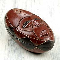 Wood decorative box, 'An Honest Man' - Artisan Carved African Mask Theme Wood Box