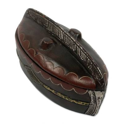 Wood jewelry box, 'River Boat' - Ghanaian Hand Carved Boat Shaped Jewelry Box with Repousse
