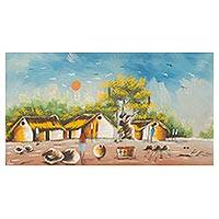 'African Village Scene' - Original Painting of African Village Scene in Acrylic