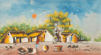 Original Painting Of African Village Scene In Acrylic African Village Scene