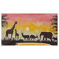 'Animals in the Wild Sunset I' - Acrylic Painting of African Animals at Sunset from Ghana