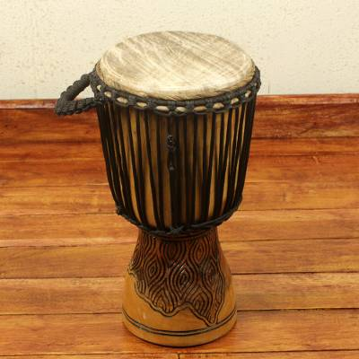 Wood djembe drum, 'Fingerprint' - 18 Inch Handcrafted West African Djembe Drum
