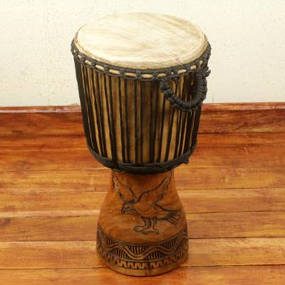 Wood djembe drum, 'Eagle and Elephant' - Handcrafted West African Djembe Drum 22 Inches Tall