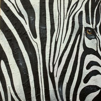 'Zebra Beauty II' (2014) - Realistic Signed Close-Up Painting of a Zebra