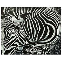 'Zebra Beauty I' (2014) - Ghanaian Original Signed Painting of an African Zebra