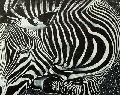 'Zebra Beauty I' (2014) - Ghanaian Original Signed Painting of an African Zebra
