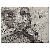'Fragile Cradle' - Signed Original Ink Drawing of Mother and Child