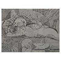 'The State of Unconsciousness I' - Fine Art Ink Drawing of Sleeping Woman and Equations