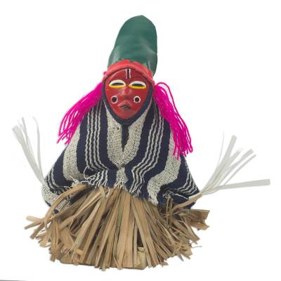 Wood display doll, 'Brave Warrior' - Ghana Handcrafted African Display Doll