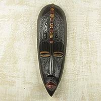 African wood mask, 'Patient One' - Black and Brown African Mask of Hand-Carved Wood