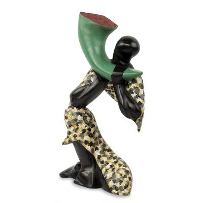 Wood sculpture, 'Joyous Trumpet' - Abstract Wood Sculpture of a West African Trumpet Player