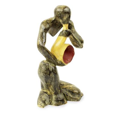 Wood sculpture, 'Jazz Sax Man' - Modern Saxophone Musician Wood Sculpture from Ghana