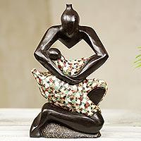Wood sculpture, 'I Love My Child'