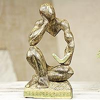 Wood sculpture, 'Reader' - Modern Ghanaian Wood Sculpture of a Man Reading a Book