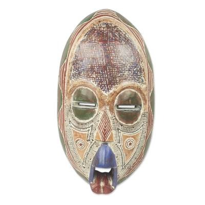 African wood mask, 'Ghost Mask' - Antique-Style Authentic Ghost Theme African Mask