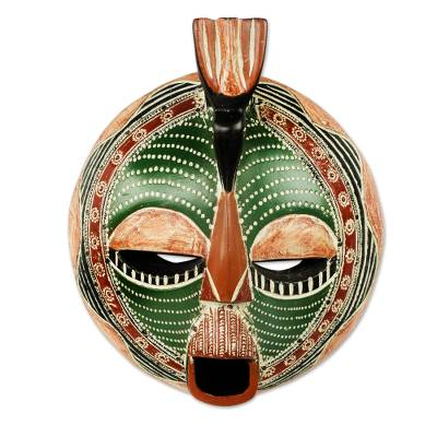 African wood mask, 'Song of Love and Peace' - Round Green African Mask Carved by Hand in Ghana