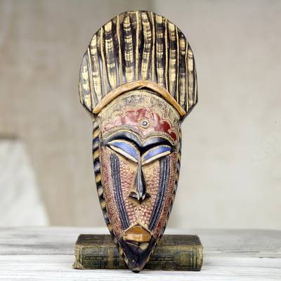 African wood mask, 'May Kudi' - Hand Crafted West African Wood Wall Mask from Ghana