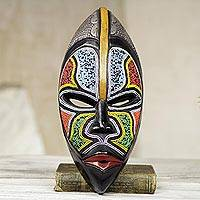 African wood mask, 'Zulu Homage' - West African Wood Beaded Wall Mask from Ghana