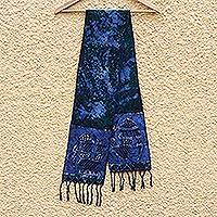 Cotton batik scarf, 'Blue Gye Nyame' - Handcrafted Signed Blue Batik Adinkra Scarf from Ghana